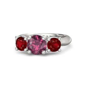 Round Rhodolite Garnet 14K White Gold Ring with Ruby