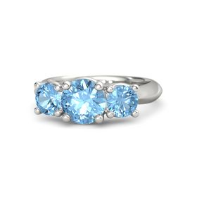 Round Blue Topaz 14K White Gold Ring with Blue Topaz