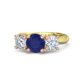 Round Blue Sapphire 14K Yellow Gold Ring with Moissanite