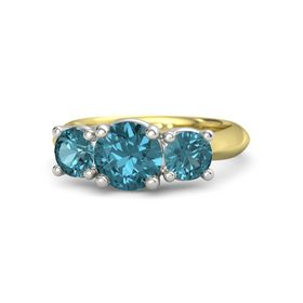 Round London Blue Topaz 14K Yellow Gold Ring with London Blue Topaz