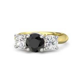 Round Black Diamond 14K Yellow Gold Ring with White Sapphire