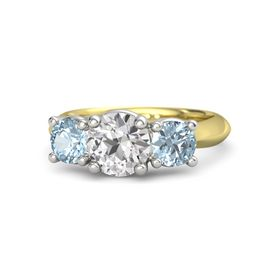 Round White Sapphire 14K Yellow Gold Ring with Aquamarine