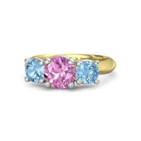 Round Pink Sapphire 14K Yellow Gold Ring with Blue Topaz