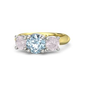 Round Aquamarine 14K Yellow Gold Ring with Rose Quartz