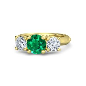 Round Emerald 14K Yellow Gold Ring with Moissanite