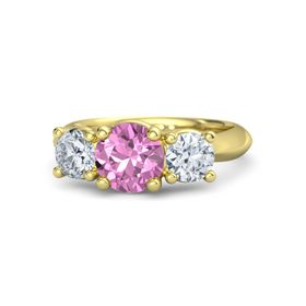 Round Pink Sapphire 14K Yellow Gold Ring with Moissanite