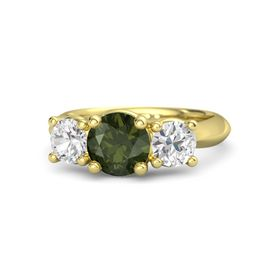 Round Green Tourmaline 14K Yellow Gold Ring with White Sapphire