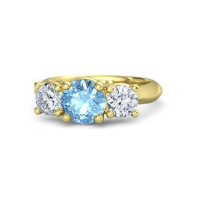 Round Blue Topaz 14K Yellow Gold Ring with Moissanite