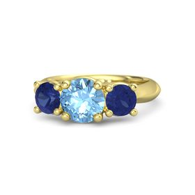 Round Blue Topaz 14K Yellow Gold Ring with Sapphire