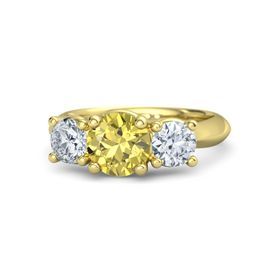 Round Yellow Sapphire 14K Yellow Gold Ring with Moissanite