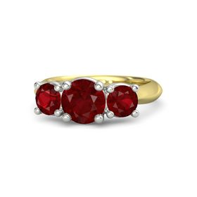 Round Ruby 14K Yellow Gold Ring with Ruby
