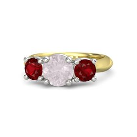 Round Rose Quartz 14K Yellow Gold Ring with Ruby