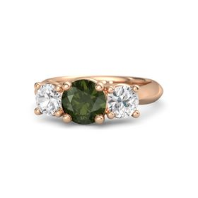 Round Green Tourmaline 18K Rose Gold Ring with White Sapphire