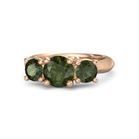 Round Green Tourmaline 18K Rose Gold Ring with Green Tourmaline