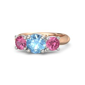 Round Blue Topaz 18K Rose Gold Ring with Pink Tourmaline