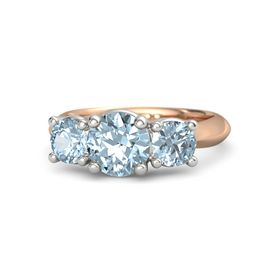 Round Aquamarine 18K Rose Gold Ring with Aquamarine