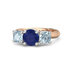 Round Blue Sapphire 18K Rose Gold Ring with Aquamarine