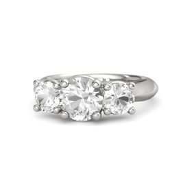 Round Rock Crystal 18K White Gold Ring with Rock Crystal