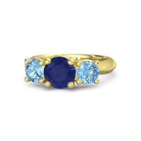 Round Sapphire 18K Yellow Gold Ring with Blue Topaz
