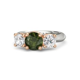 Round Green Tourmaline Palladium Ring with White Sapphire