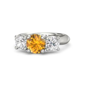 Round Citrine Palladium Ring with White Sapphire