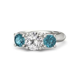 Round White Sapphire Palladium Ring with London Blue Topaz