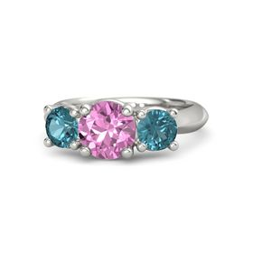 Round Pink Sapphire Palladium Ring with London Blue Topaz