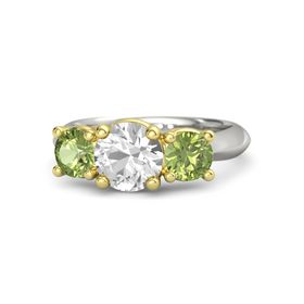 Round Rock Crystal Palladium Ring with Peridot