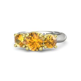 Round Citrine Palladium Ring with Citrine