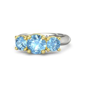Round Blue Topaz Palladium Ring with Blue Topaz