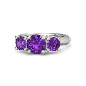 Round Amethyst Palladium Ring with Amethyst