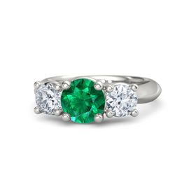Round Emerald Platinum Ring with Moissanite