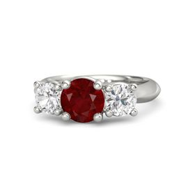 Round Ruby Platinum Ring with White Sapphire
