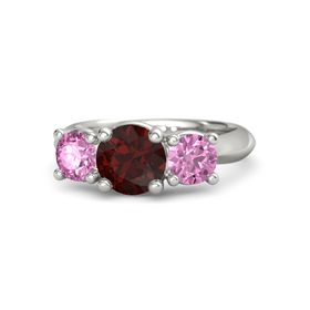 Round Red Garnet Platinum Ring with Pink Sapphire