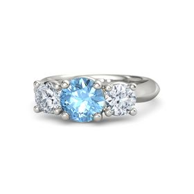 Round Blue Topaz Platinum Ring with Moissanite