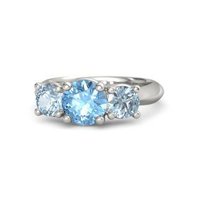 Round Blue Topaz Platinum Ring with Aquamarine