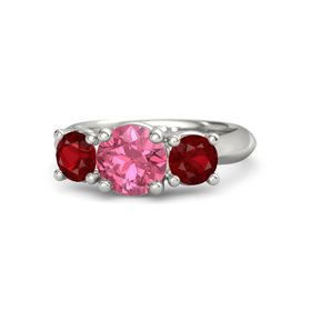 Round Pink Tourmaline Platinum Ring with Ruby