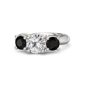 Round White Sapphire Sterling Silver Ring with Black Onyx