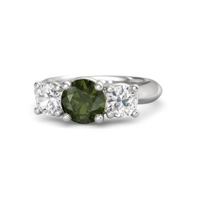 Round Green Tourmaline Sterling Silver Ring with White Sapphire
