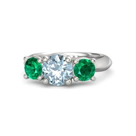 Round Aquamarine Sterling Silver Ring with Emerald