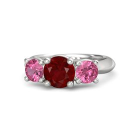Round Ruby Sterling Silver Ring with Pink Tourmaline