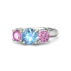 Round Blue Topaz Sterling Silver Ring with Pink Sapphire
