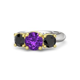 Round Amethyst Sterling Silver Ring with Black Diamond