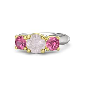 Round Rose Quartz Sterling Silver Ring with Pink Tourmaline