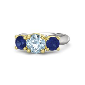 Round Aquamarine Sterling Silver Ring with Sapphire