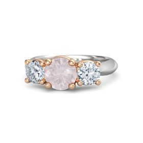 Round Rose Quartz Sterling Silver Ring with Moissanite