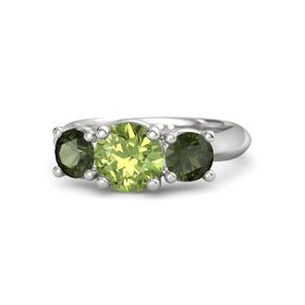 Round Peridot Sterling Silver Ring with Green Tourmaline
