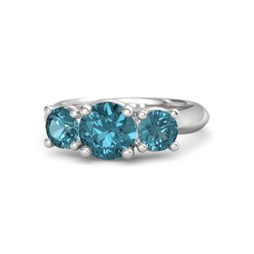 Round London Blue Topaz Sterling Silver Ring with London Blue Topaz