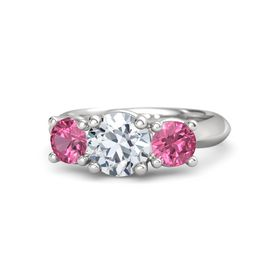 Round Diamond Sterling Silver Ring with Pink Tourmaline