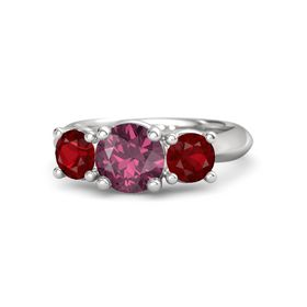 Round Rhodolite Garnet Sterling Silver Ring with Ruby